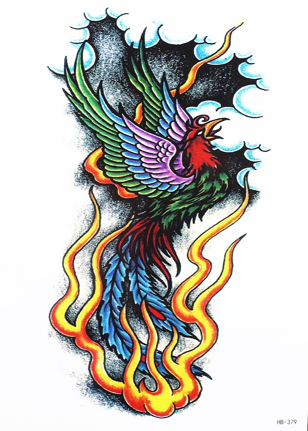 Traditional colorful screaming phoenix in fire tattoo design