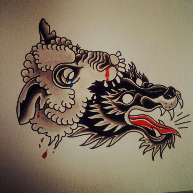 Traditional colorful sheep and wolf heads tattoo design