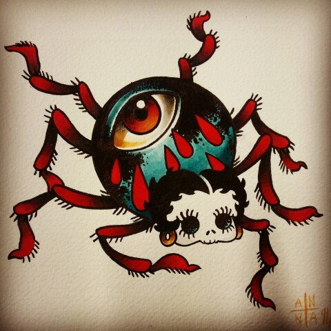 Traditional colorful spider with eye print and Betty Boop head tattoo design