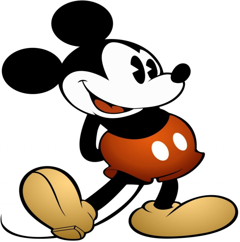 Traditional colorful standing Mickey Mouse tattoo design