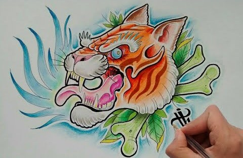 Traditional colorful tiger head on green crossed bones and leaves background tattoo design