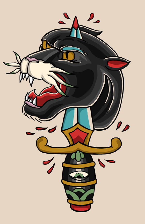 Traditional colorfull panther head killed with decorated dagger tattoo design