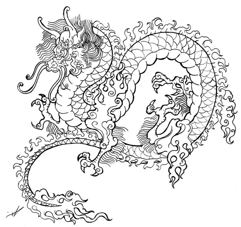 Traditional colorless chinese dragon with curly mane tattoo design by Smarelda