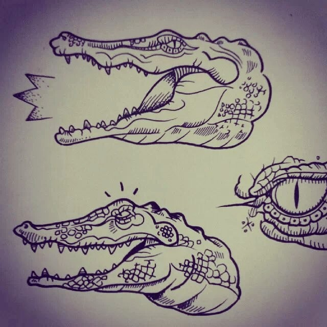 Traditional colorless reptile heads tattoo design