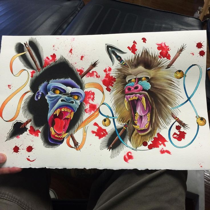 Traditional crying baboon and gorilla heads killed with arrows tattoo design