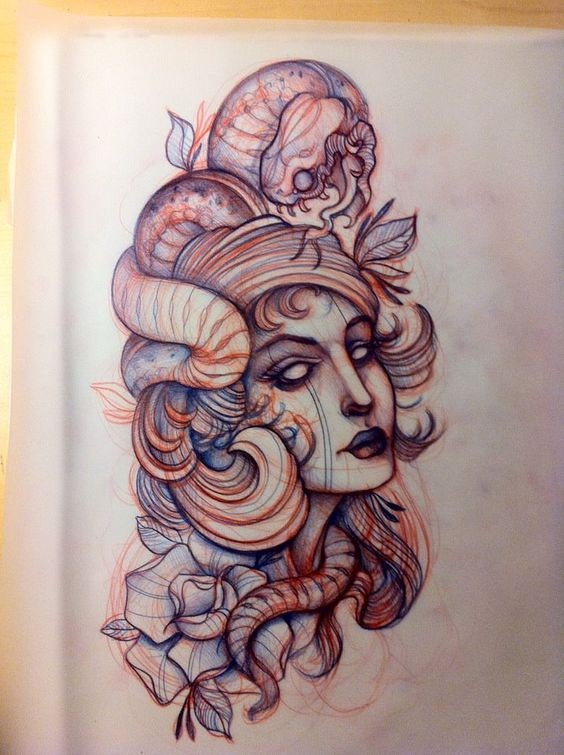 Traditional crying lady head entwined with hungry reptile tattoo design