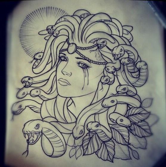 Tradicional Chorando Medusa Gorgona Sem Colorir Tatuagem Design