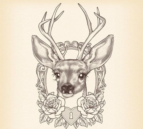 Traditional deer cub with roses and heart locker tattoo design