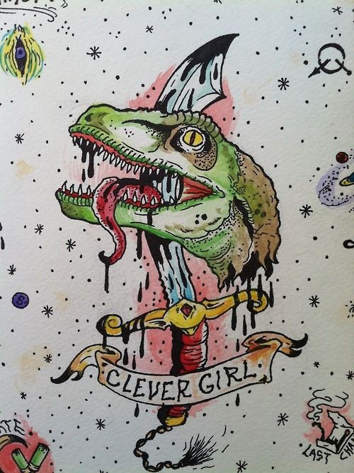 Traditional dinosaur killed with large dagger and banner tattoo design