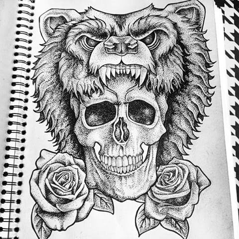 Traditional dotwork bear with skull and roses tattoo design