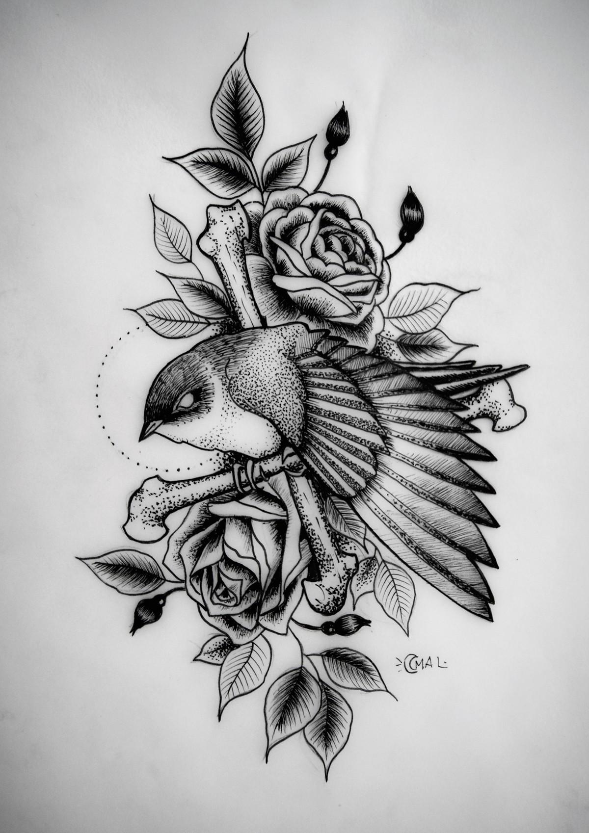 Traditional Dotwork Bird With Rose Buds Tattoo Design Tattooimages Biz