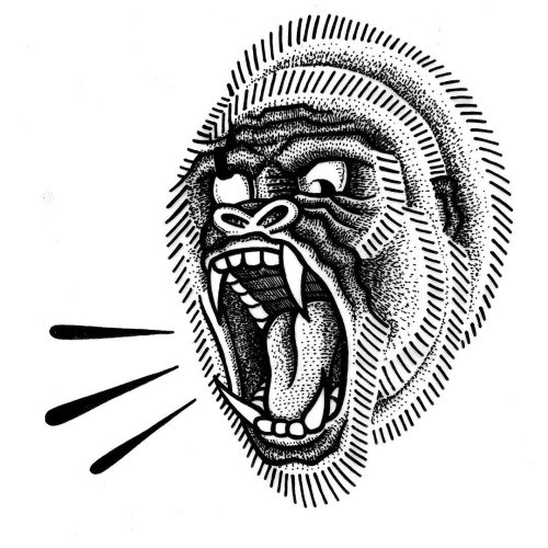 Traditional dotwork crying gorilla head tattoo design