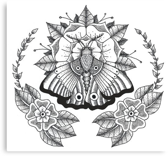 Traditional dotwork moth sitting on flower in floral circled frame tattoo design