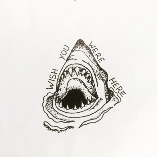 Traditional dotwork shark head with lettering tattoo design