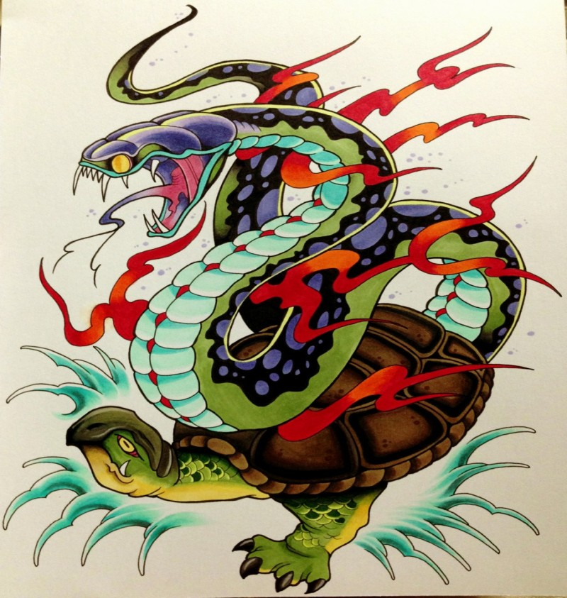Traditional fire snake riding a turtle tattoo design
