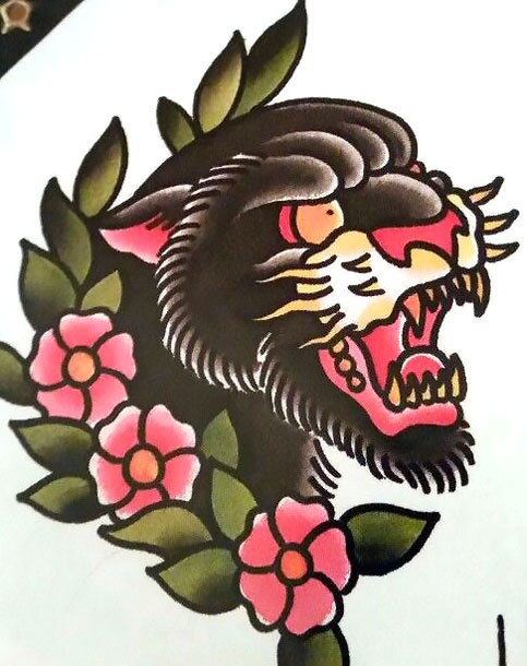 Traditional gnarling panther head and cherry blossom tattoo design