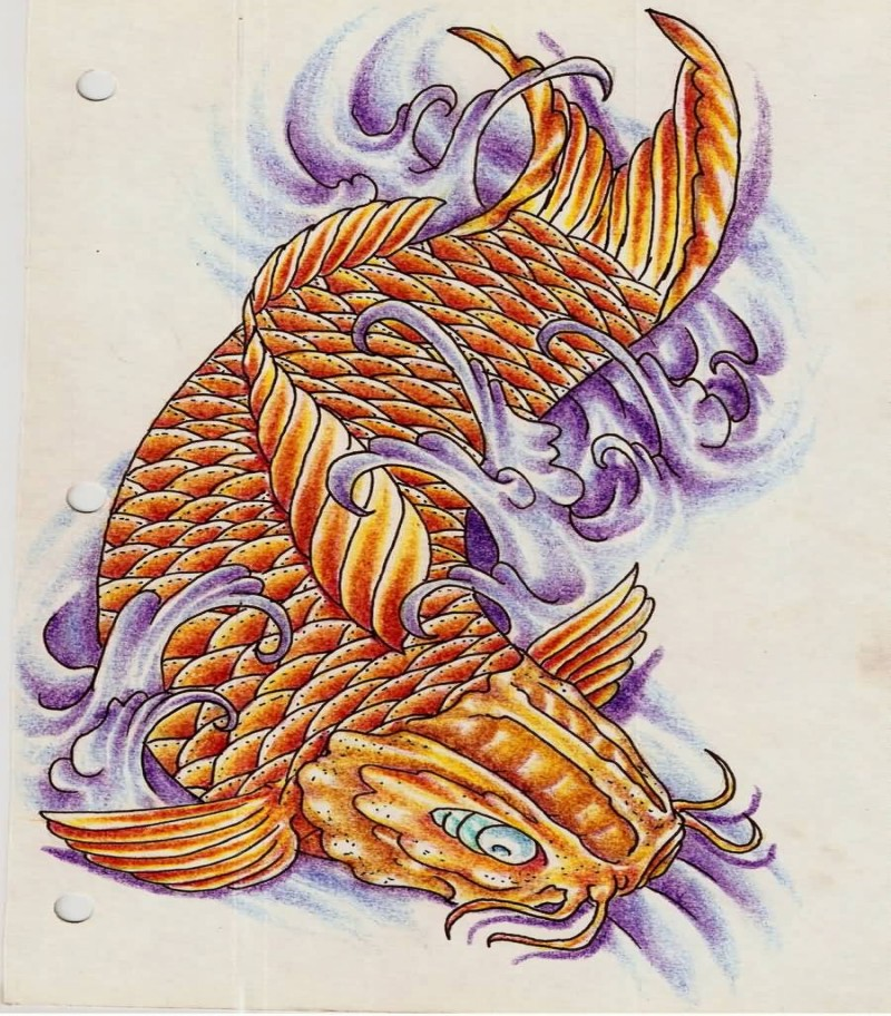 Traditional golden koi fish in violet waves tattoo design