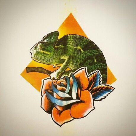 Traditional green chameleon with rose on orange geometric background tattoo design