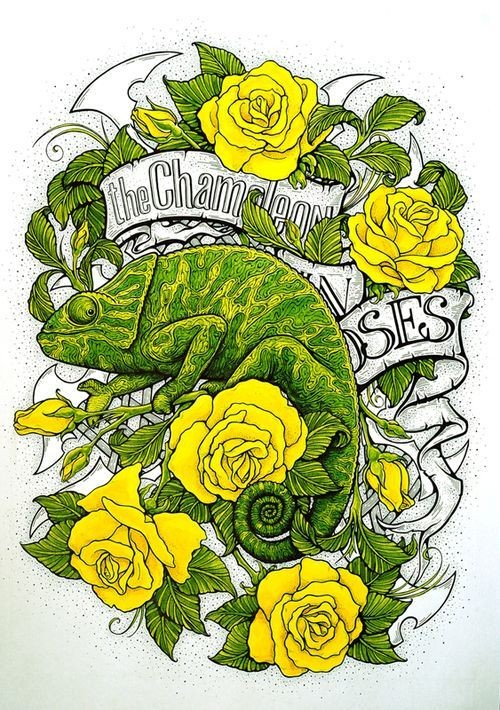 Traditional green chameleon with yellow roses and quoted banner tattoo design