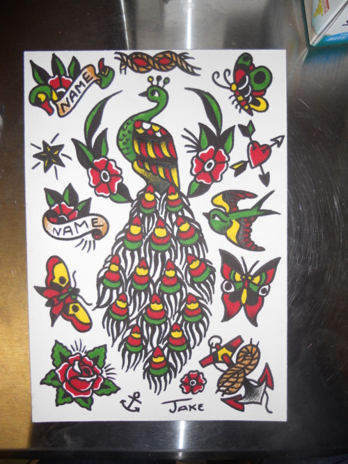 Traditional green old school peacock with red-and-yellow feathered tail tattoo design