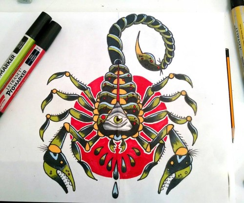 Traditional green scorpion with illuminati print on red circle background tattoo design