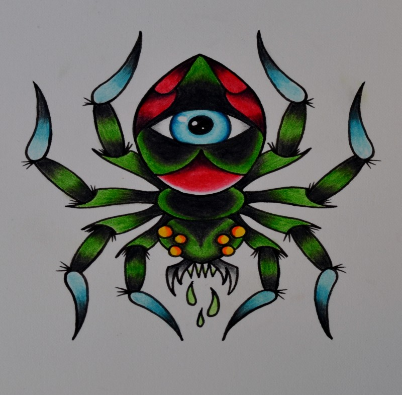 Traditional green spider with eye print tattoo design by Beyond Edge