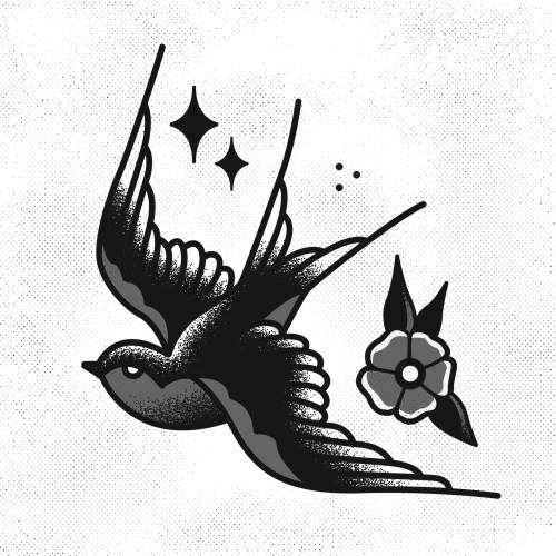 Traditional grey-and-black sparrow with flower and stars tattoo design
