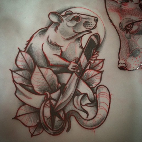 Traditional grey-and-red mouse with knife and medallion tattoo design
