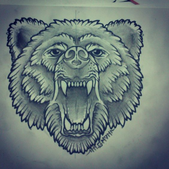 Traditional grey-color crying bear head tattoo design