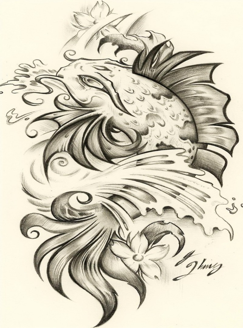 Traditional grey-ink fish in water tattoo design by Jksart