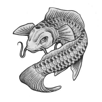Traditional grey-ink koi fish tattoo design