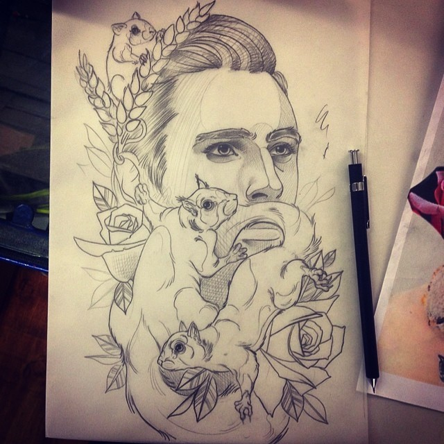 Traditional grey-ink man face with fussing squirrels and roses tattoo design by Namkao