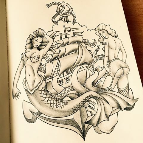 Traditional grey-ink mermaid and strip-girl with ship and anchor tattoo design