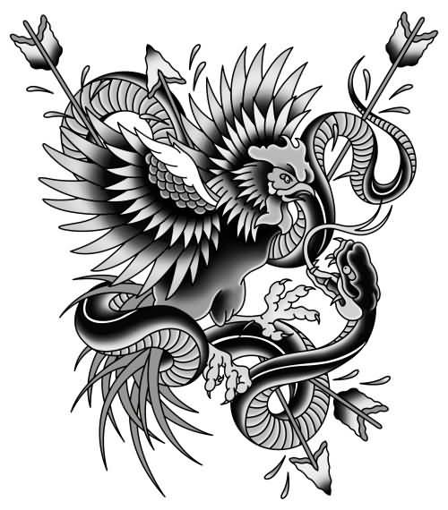 Traditional grey-ink rooster and snake battle tattoo design