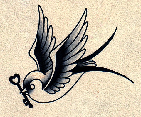 Traditional grey-ink sparrow keeping a small kea in beak tattoo design