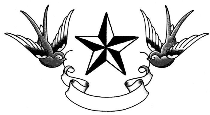 Traditional grey-ink sparrow keeping banner and huge star tattoo design