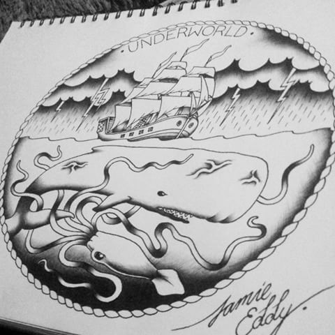 Traditional grey-ink whale hunting a ship in storm tattoo design