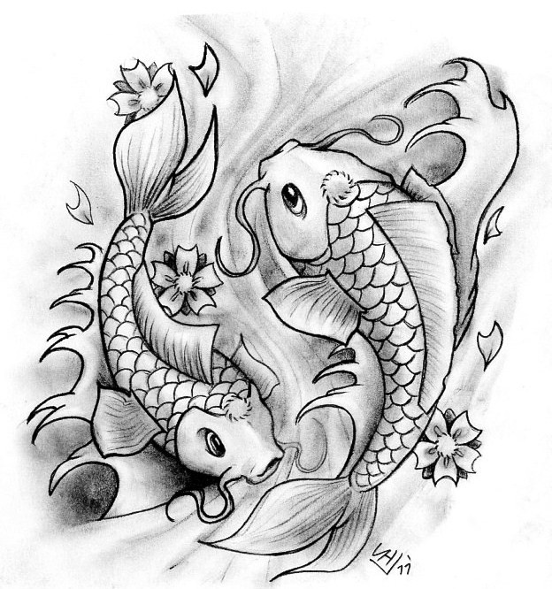 Traditional grey pencil koi fishes tattoo design by ham for Grey koi fish