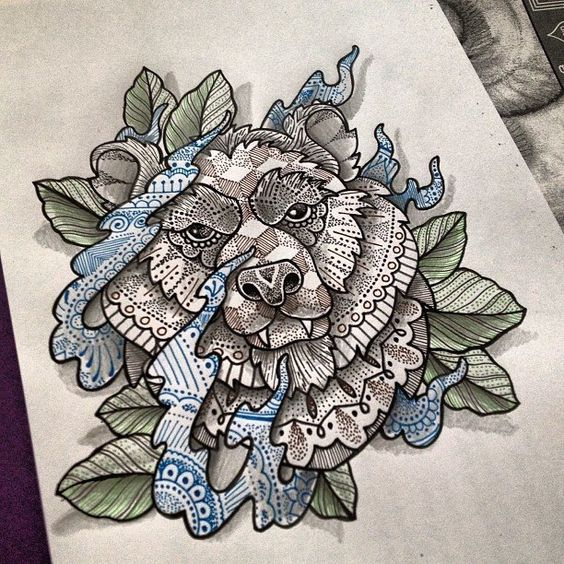 Traditional grey indian-patterned bear head in blue smoke tattoo design