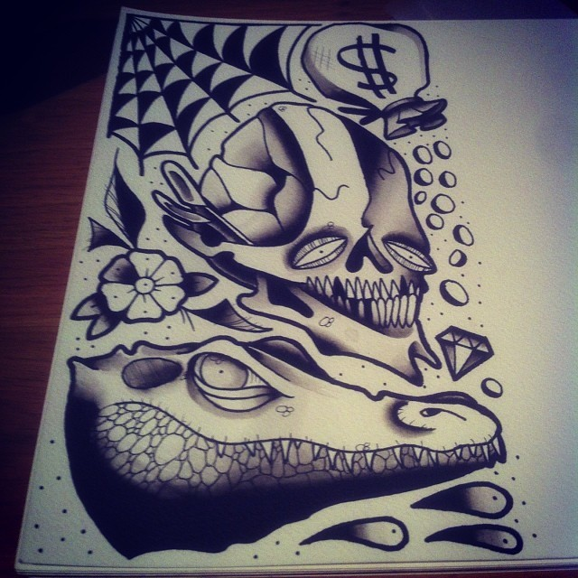 Traditional grey old school reptile head and skull with flower and web tattoo design
