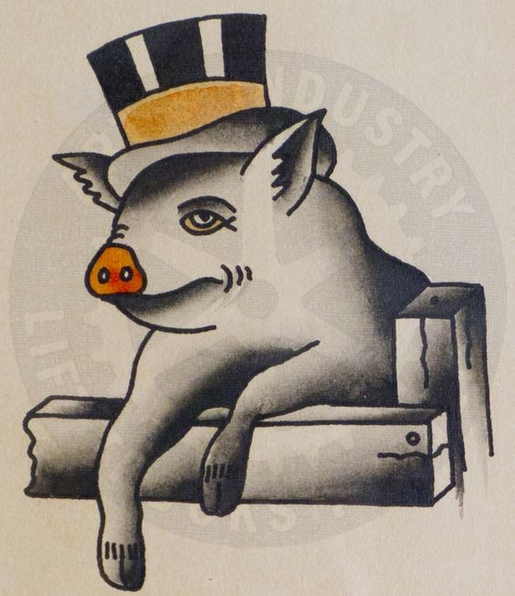 Traditional grey old school sir pig in higt yellow-striped had tattoo design