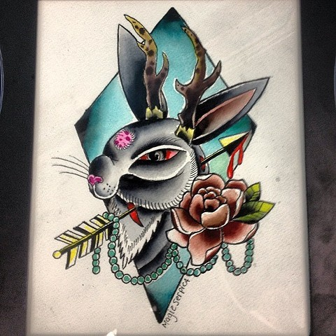 Traditional grey rabbit on detailed turquoise background tattoo design