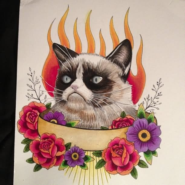 Traditional grumpy cat and flowers on fire background tattoo design