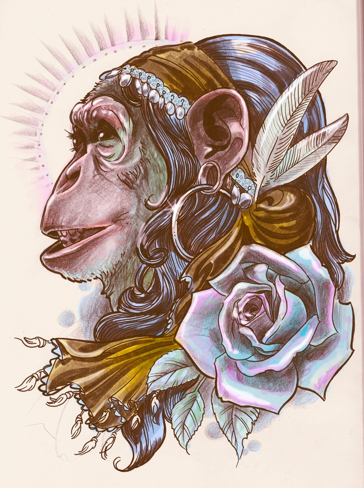 Traditional gypsy chimpanzee with rose tattoo design by Brain Leakage