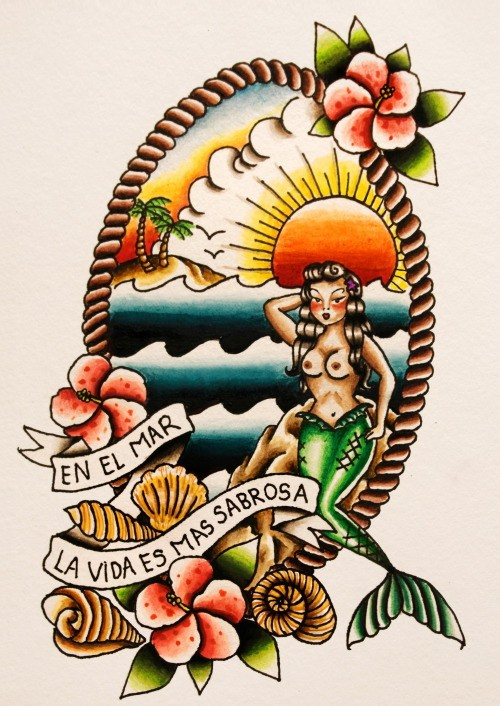 Traditional hawaiian mermaid with roped marine view and flowers tattoo design