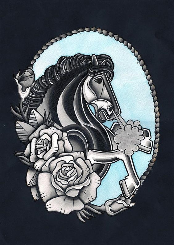 Traditional horse with roses in marine rope frame tattoo design
