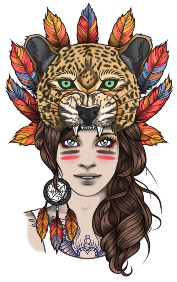 Traditional indian woman in feathered jaguar hat tattoo design