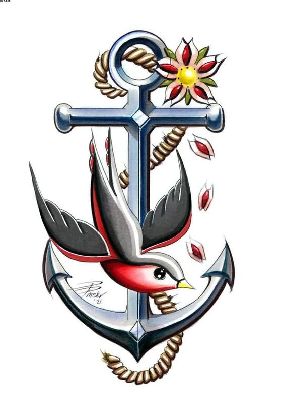 Traditional iron anchor and flying sparrow tattoo design