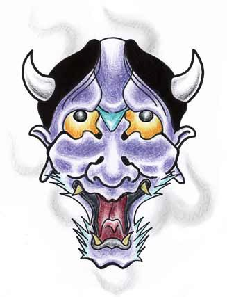 Traditional japanese demon face looking up tattoo design