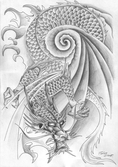 Traditional Japanese Dragon In Swirly Water Tattoo Design